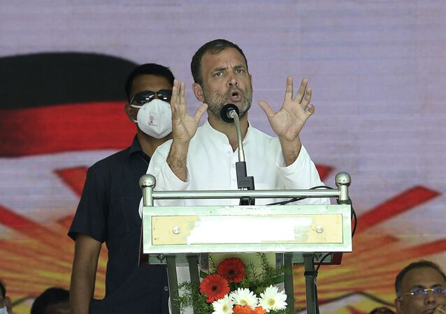 India's Congress party leader Rahul Gandhi gestures as he addresses a public rally ahead of the Tamil Nadu state legislative assembly elections, in Chennai on March 28, 2021