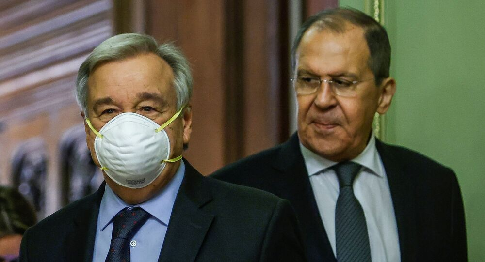 Russian Foreign Minister Sergei Lavrov and U.N. Secretary-General Antonio Guterres attend a news conference following their talks in Moscow, Russia May 12, 2021.