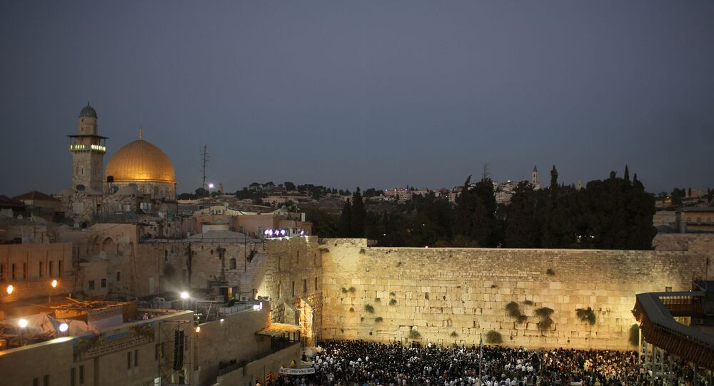Evening View of Jerusalem's Old City Amid Heightened Israeli-Gaza Tensions