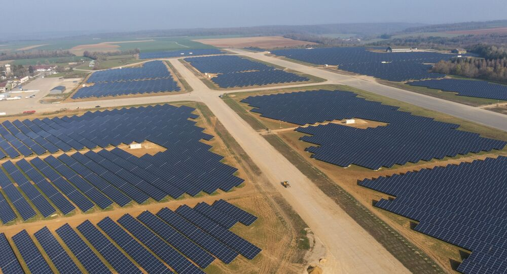 This aerial picture taken on April 20, 2021, shows a photovoltaic power station on the former Marville-Montmedy airbase in Marville, eastern France, on April 20, 2021