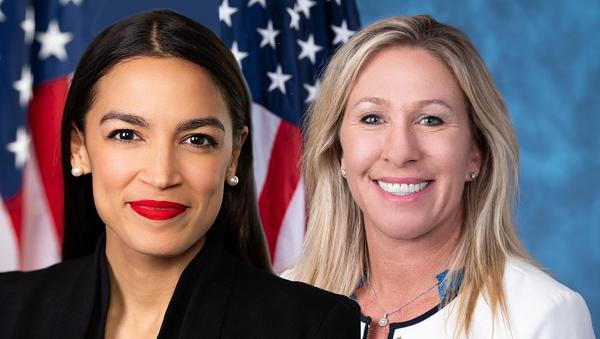 Congressional composite collage of Reps. Alexandria Ocasio-Cortez (D-NY) and Marjorie Taylor Greene (R-GA) - Sputnik International