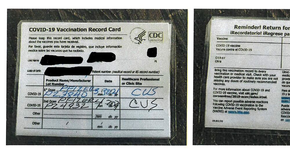 This undated photo provided by the California Department of Alcoholic Beverage Control shows a fraudulent COVID-19 vaccination card.