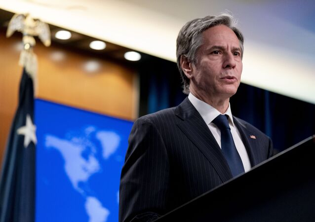 Secretary of State Antony Blinken speaks at a news conference to announce the annual International Religious Freedom Report at the State Department in Washington, Wednesday, May 12, 2021.