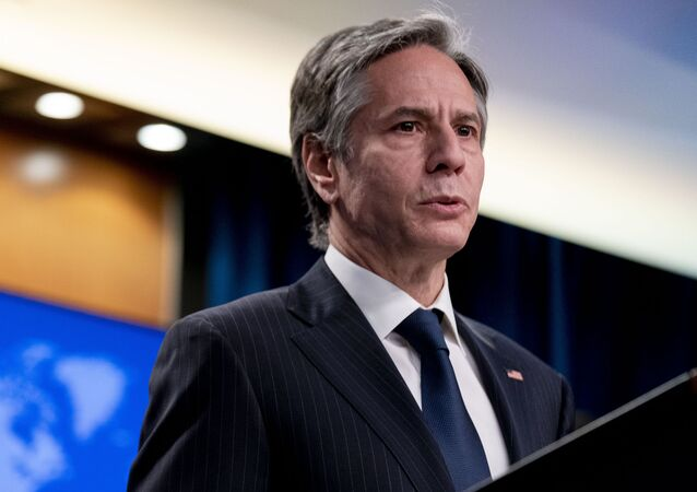 Secretary of State Antony Blinken speaks at a news conference to announce the annual International Religious Freedom Report at the State Department in Washington, Wednesday, 12 May 2021.