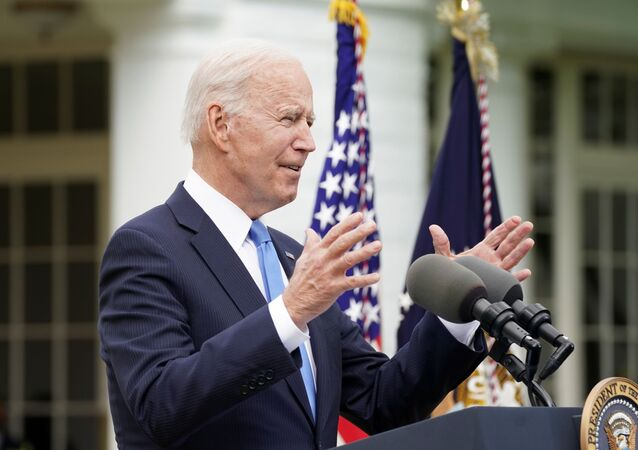 U.S. President Joe Biden speaks about the coronavirus disease (COVID-19) response and the vaccination program from the Rose Garden of the White House in Washington, U.S., May 13, 2021.