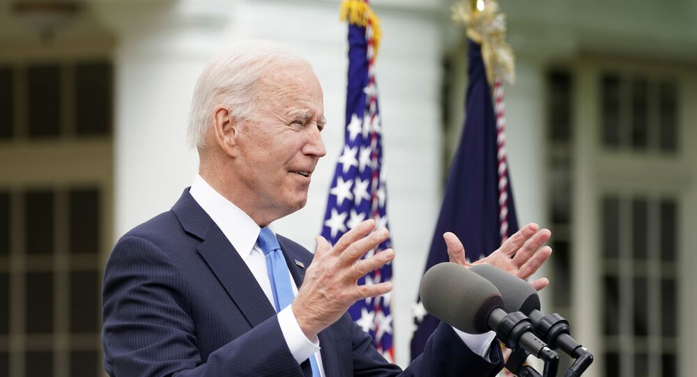 US President Joe Biden speaks about the coronavirus disease (COVID-19) response and the vaccination program from the Rose Garden of the White House in Washington, U.S., 13 May 2021.