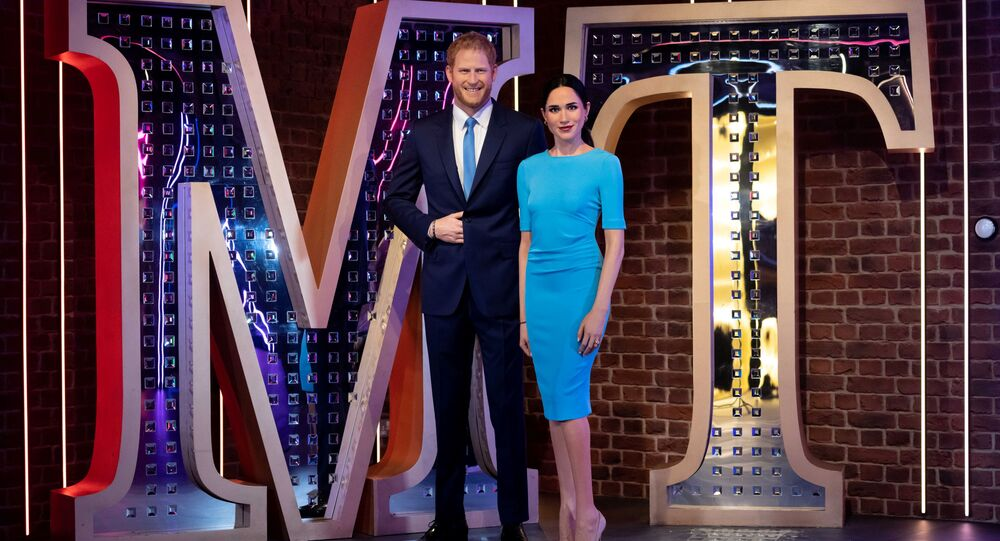 Figures of Madame Tussauds London's Britain's Prince Harry and Meghan, Duchess of Sussex, stand in their new position in London, Britain May 12, 2021. Picture taken May 12, 2021
