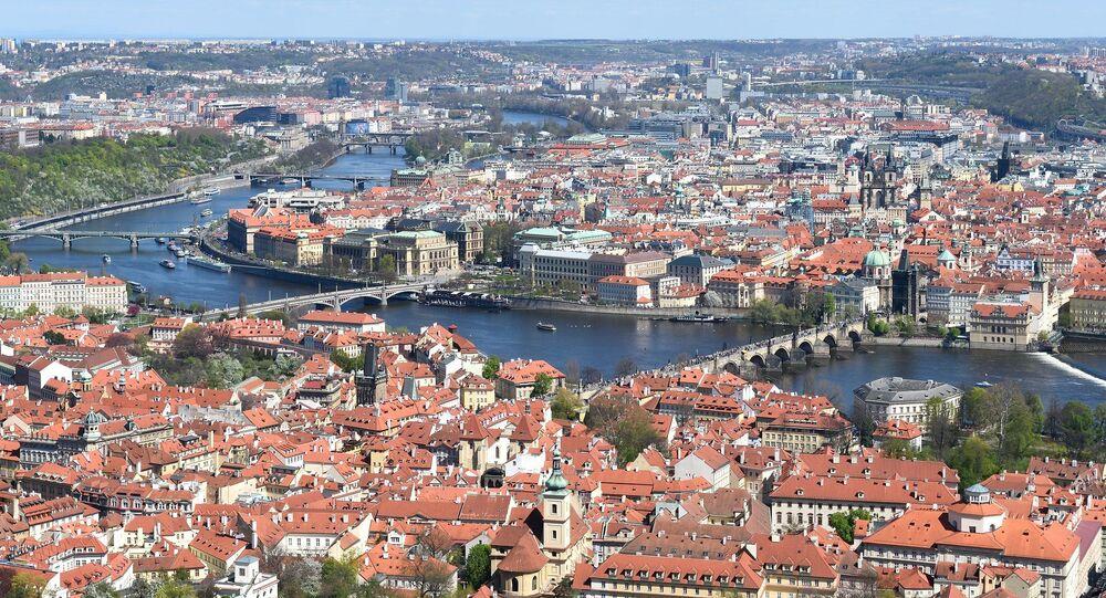 View of Prague from Petrin Hill observation tower in Prague, Czech Republic