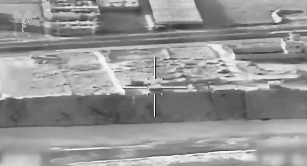 Screengrab of footage posted by Israeli military showing attack on alleged Hamas navy site.