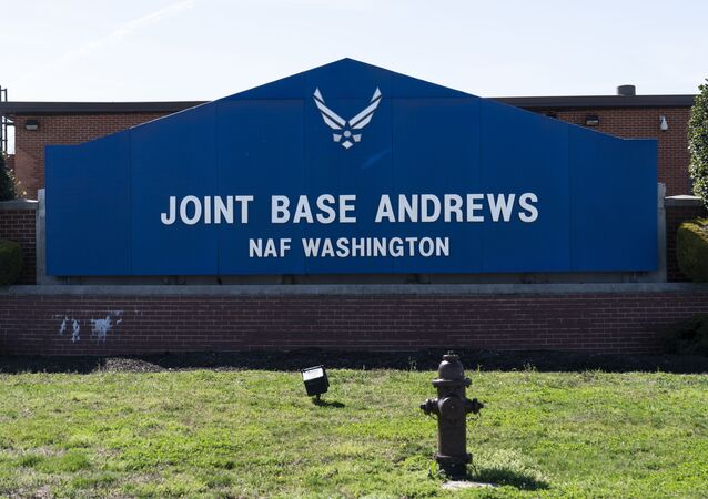 The sign for Joint Base Andrews is seen, Friday, March 26, 2021, at Andrews Air Force Base, Md.