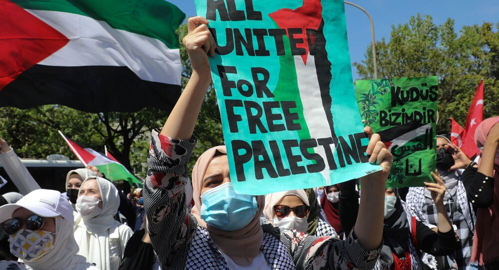Pro-Palestinian demonstrators take part in a rally in front Israeli Embassy in Ankara on May 15, 2021