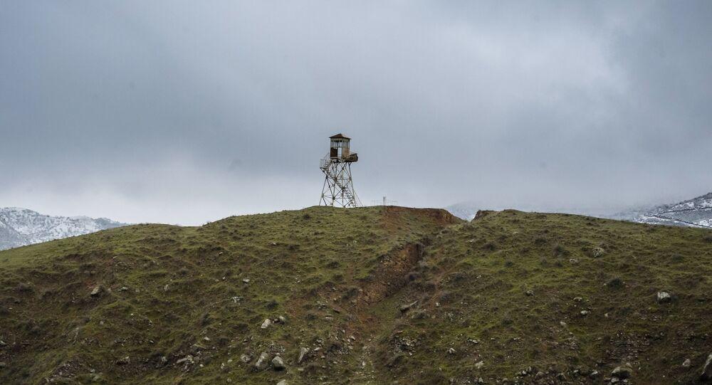 Border post on the border between Iran and Azerbaijan. File photo.