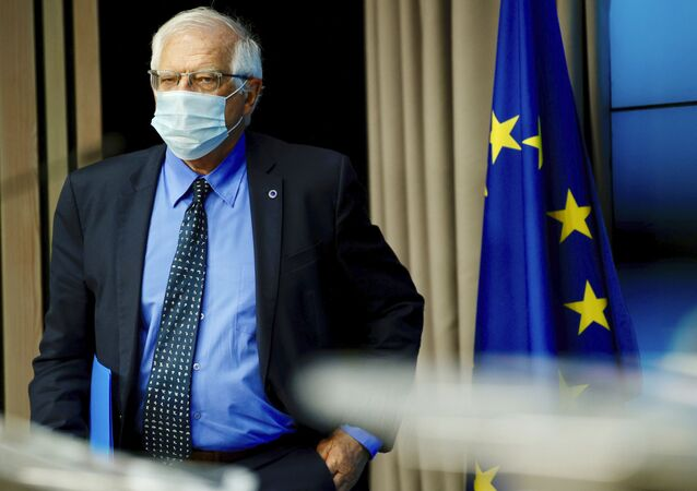 European Union foreign policy chief Josep Borrell arrives for a media conference after a meeting of EU foreign ministers at the European Council building in Brussels, Monday, May 10, 2021.