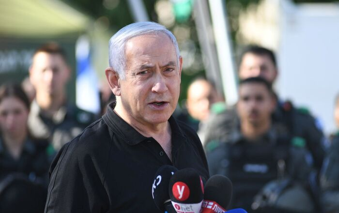 Israeli Prime Minister Benjamin Netanyahu speaks during meeting with Israeli border police following violence in the Arab-Jewish town of Lod, Israel May 13, 2021.