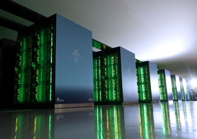 This picture taken on June 16, 2020 shows Japan's Fugaku supercomputer at the Riken Center for Computational Science in Kobe, Hyogo prefecture.