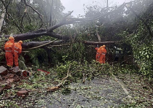 This handout photo released on May 16, 2021 by the National Disaster Response Force (NDRF) shows National Disaster Response Force (NDRF) personnel clearing fallen trees from a road following severe cyclonic storm 'Tauktae' at Margao in Goa