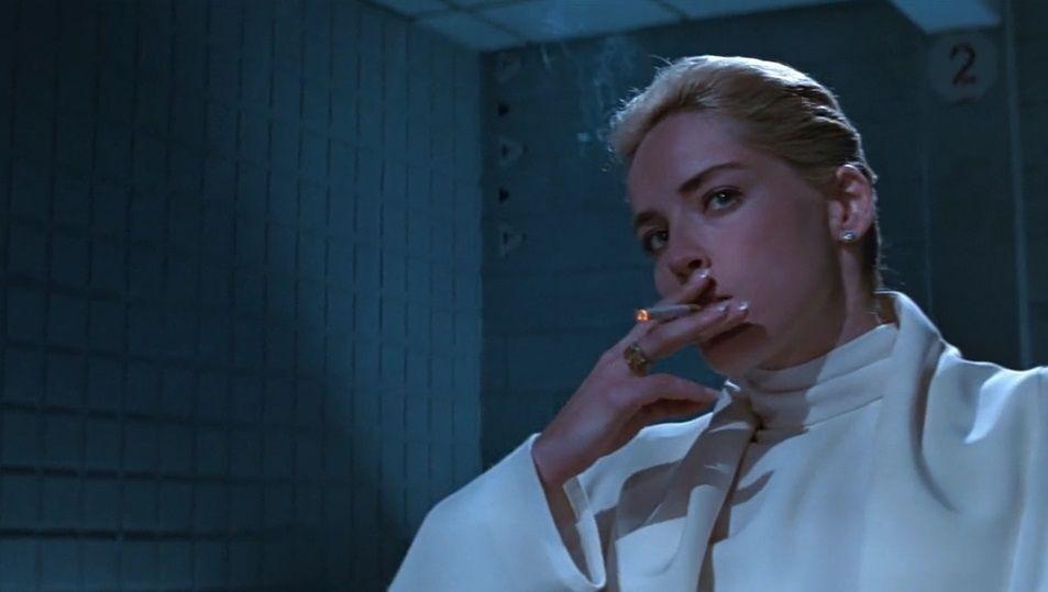 Sharon Stone in the smoking scene of the Basic Instinct