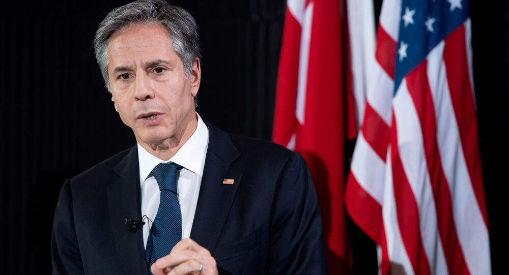 U.S. Secretary of State Antony Blinken speaks during a news conference following meetings at the Danish Foreign Ministry in Copenhagen, Denmark, May 17, 2021. Saul Loeb/Pool via REUTERS