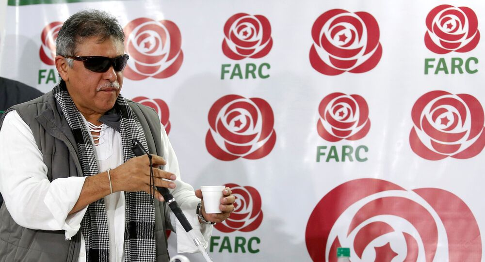 Jesus Santrich, a leader of Colombia's former Marxist FARC rebels, gestures during a news conference in Bogota, Colombia November 16, 2017