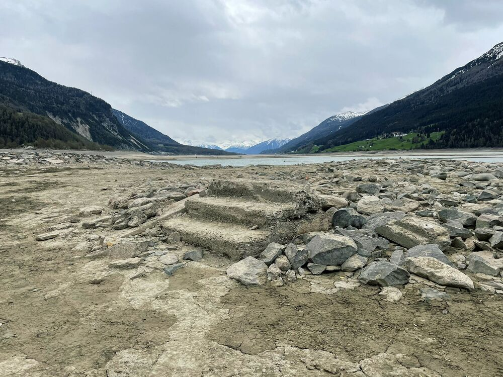 Remains of steps are seen on a picture taken in the middle of drained Lake Resia.