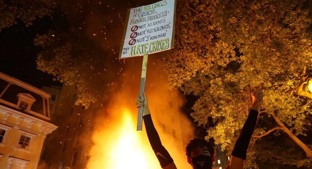 Violent BLM protest at night