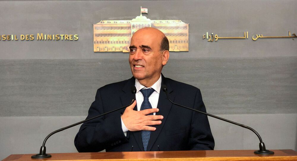 Charbel Wehbe, Lebanon's caretaker foreign minister, speaks to the media after a meeting with Lebanon's caretaker Prime Minister Hassan Diab, at the governmental palace in Beirut, Lebanon May 19, 2021. REUTERS/Issam Abdallah
