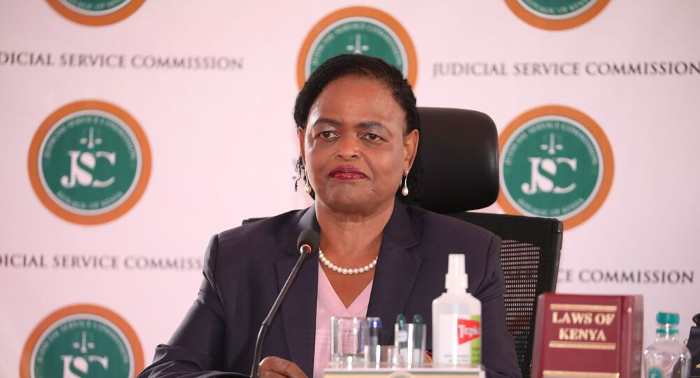 Judge Martha Koome attends the interview for the post of Chief Justice at the Supreme Court building in Nairobi, Kenya April 14, 2021. Picture taken April 14, 2021.