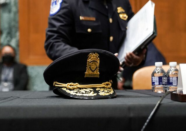 The hat of acting U.S. Capitol Police chief Yogananda Pittman sits on the table before an Appropriations Subcommittee hearing on Capitol Hill on April 21, 2021 in Washington, DC. The committee is hearing testimony on the FY 2022 budget request for the Architect of the Capitol, Senate Sergeant of Arms and the U.S. Capitol Police.