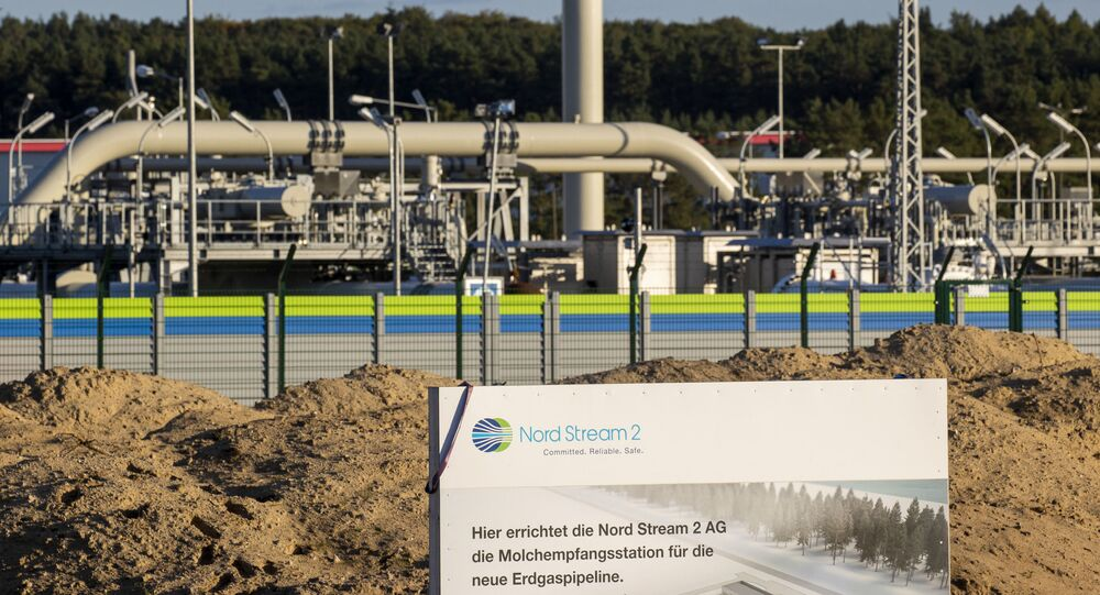 (FILES) In this file photo taken on September 07, 2020 the Nord Stream 2 gas line landfall facility in Lubmin, north eastern Germany