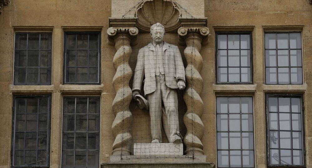 The statue of Cecil Rhodes on the facade of Oriel College in Oxford, England.