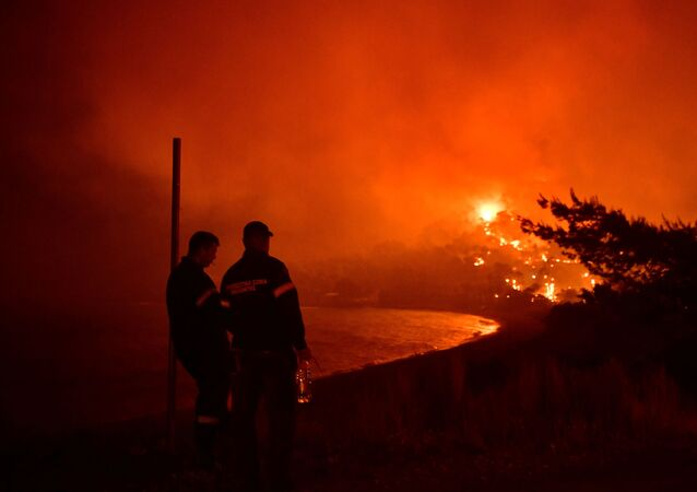 Firefighters look at a wildfire burning next to the beach of the village of Schinos, near Corinth, Greece, May 19, 2021. Picture taken May 19, 2021