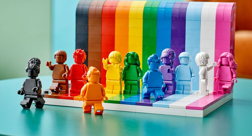 Figures developed from the colors of the rainbow flag are seen in a photograph released May 20, 2021 for the launch of the new LEGO Everyone is Awesome set.