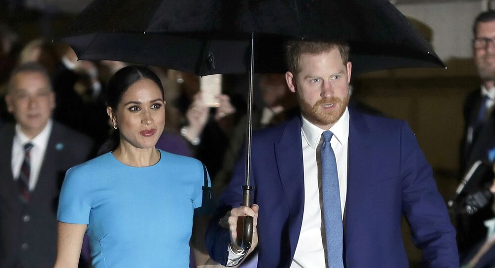 FILE - In this March 5, 2020, file photo, Britain's Prince Harry and Meghan, Duchess of Sussex, arrive at the annual Endeavour Fund Awards in London
