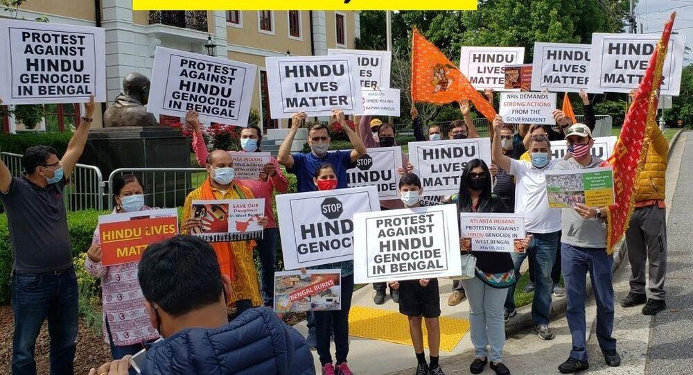Indian diaspora protest against West Bengal violence in Atlanta, US.