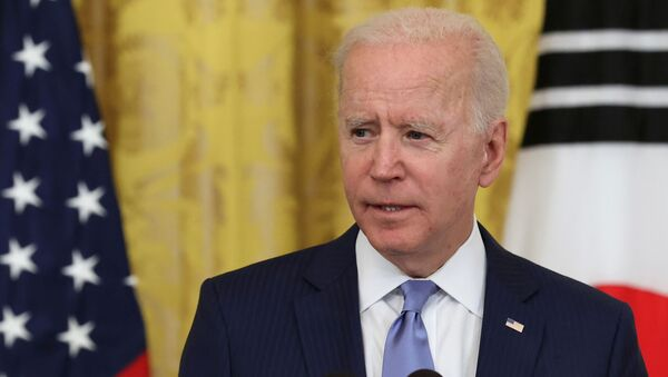 U.S. President Joe Biden speaks during a joint news conference with South Korea's President Moon Jae-in (not pictured) after a day of meetings at the White House, in Washington, U.S. May 21, 2021 - Sputnik International