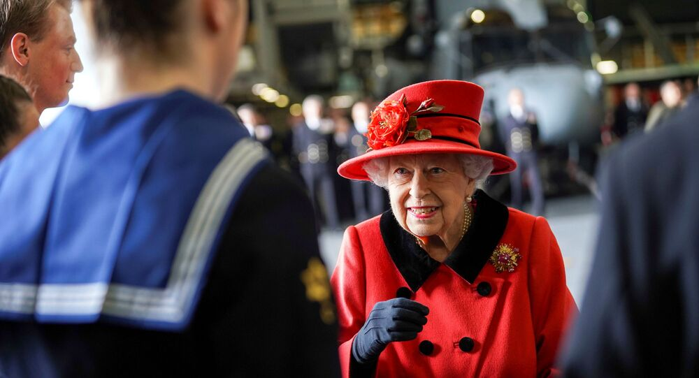 Britain's Queen Elizabeth visits HMS Queen Elizabeth ahead of the ship's maiden deployment at HM Naval Base in Portsmouth, Britain May 22, 2021