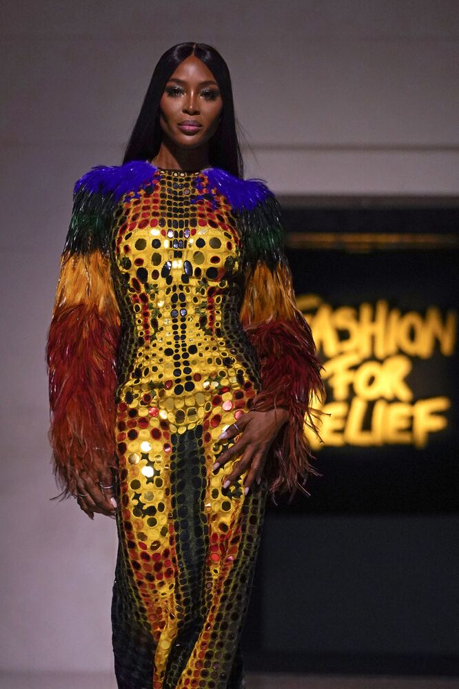 Naomi Campbell during a charity gala Fashion For Relief at the London Fashion Week, 2019