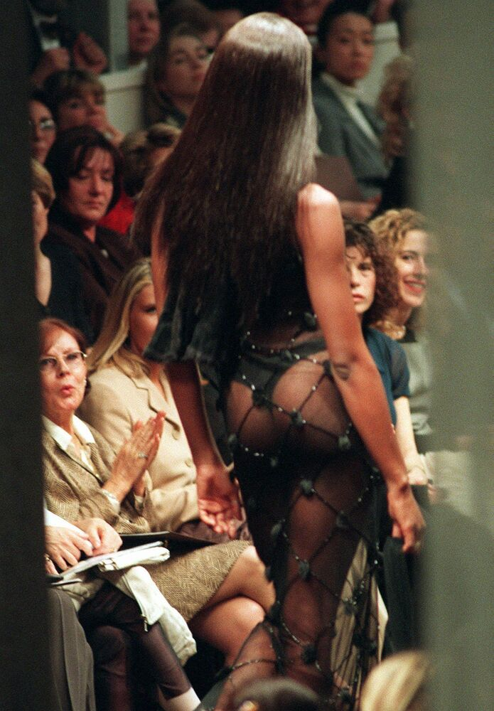 Naomi Campbell during a Fendi fall/winter show in Milan, 1997