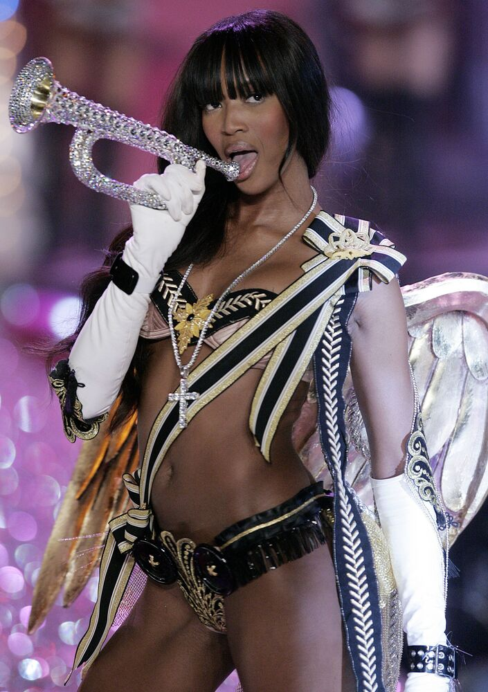 Naomi Campbell on the catwalk during Victoria's Secret show in New York City, 2005