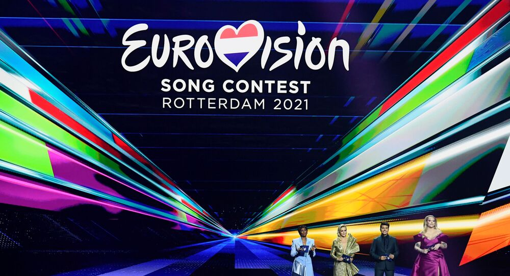 Presenters Edsilia Rombley, Chantal Janzen, Jan Smit and Nikkie de Jager attend the final of the 2021 Eurovision Song Contest in Rotterdam, Netherlands, May 22, 2021.