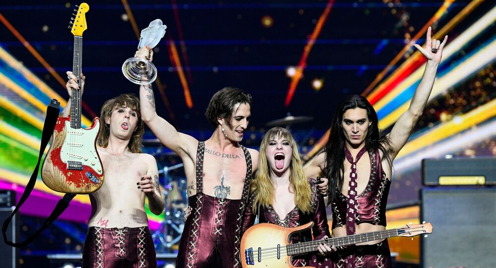 Maneskin of Italy appear on stage after winning the 2021 Eurovision Song Contest in Rotterdam, Netherlands, May 23, 2021.