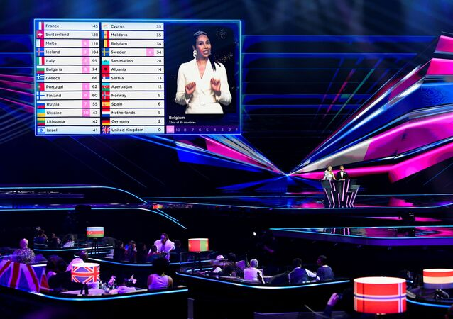 Jury votes take place during the final of the 2021 Eurovision Song Contest in Rotterdam, Netherlands, May 23, 2021.