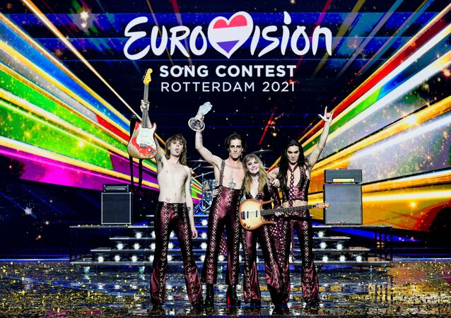Maneskin of Italy appear on stage after winning the 2021 Eurovision Song Contest in Rotterdam, Netherlands, 23 May 2021.