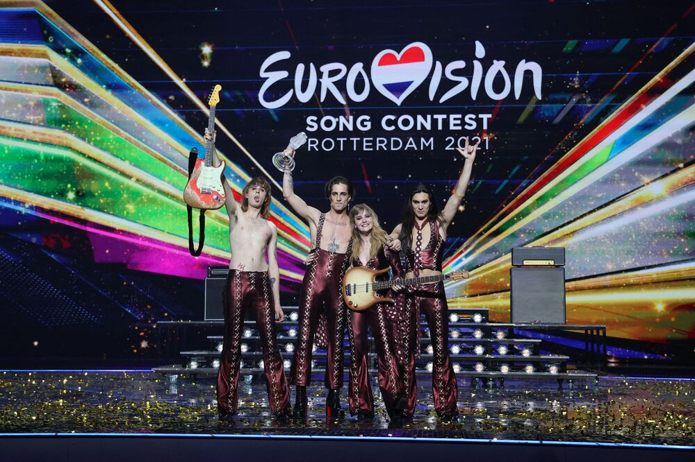 Italy's Måneskin pose on stage with the trophy after winning the final of the 65th edition of the Eurovision Song Contest 2021 at the Ahoy Convention Centre in Rotterdam on May 22, 2021.