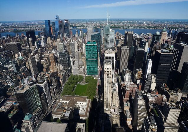 Midtown Manhattan and Bryant Park are pictured from the observation deck of the still under construction One Vanderbilt tower in the Manhattan borough of New York City, 11 May 2021.