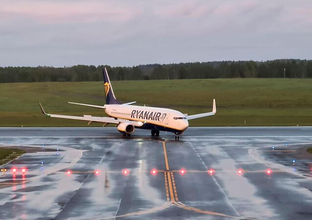 A Ryanair aircraft, which was carrying Belarusian opposition blogger and activist Roman Protasevich and was diverted to Belarus, lands at Vilnius Airport in Vilnius, Lithuania May 23, 2021. REUTERS/Andrius Sytas