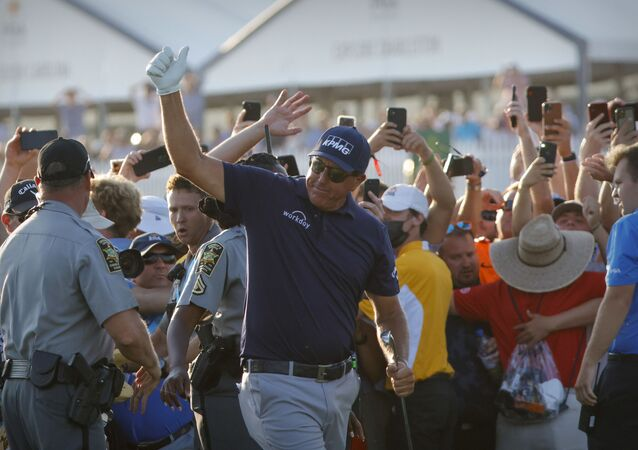May 23, 2021; Kiawah Island, South Carolina, USA; Phil Mickelson gives a thumbs up to the fans on the 18th hole during the final round of the PGA Championship golf tournament