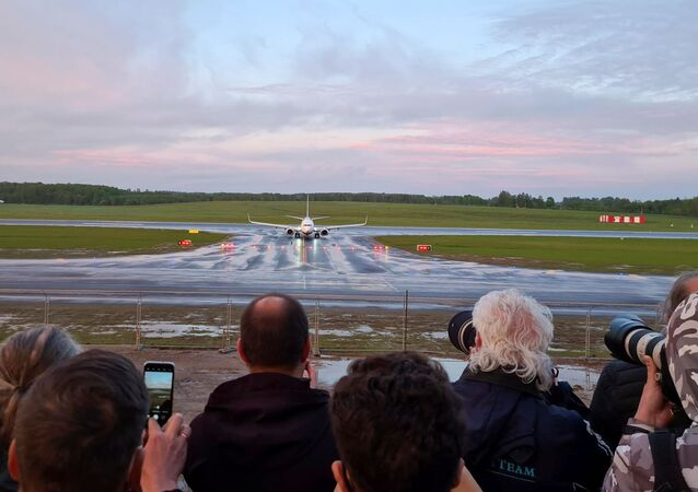A Ryanair aircraft, which was carrying Belarusian opposition blogger and activist Roman Protasevich, was diverted to Belarus, where authorities detained him; here the passenger plane is landing in Vilnius, Lithuania, 23 May 2021.