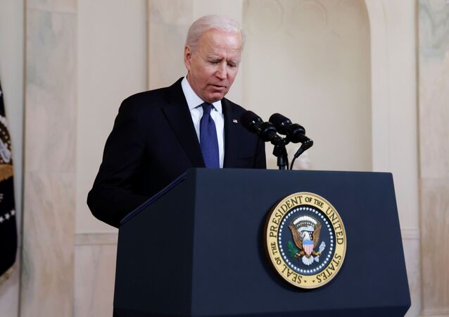 US President Joe Biden delivers remarks before a ceasefire agreed upon by Israel and Hamas was to go into effect, during a brief appearance in the Cross Hall at the White House in Washington, US, 20 May 2021.