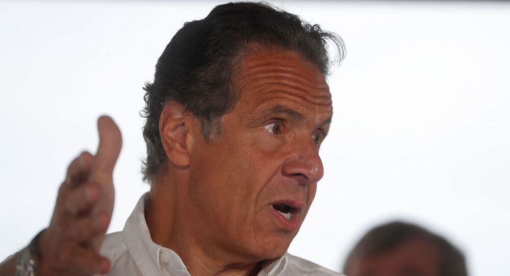 New York Governor Andrew Cuomo speaks while making an announcement during a news conference at Jones Beach State Park in Wantagh, New York, U.S., May 24, 2021.